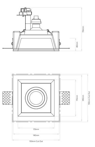 Astro Blanco Square Adjustable 7345 Oprawa pod zabudowę