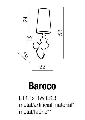 Baroco AB 7121-1S Silver Kinkiet AZZARDO