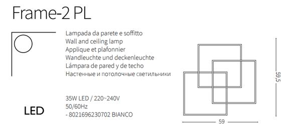 Ideal Lux Frame-2 PL Plafoniera LED do salonu w kolorze białym