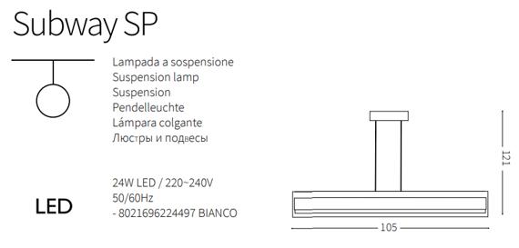 Ideal Lux Subway SP Lampa wisząca prosta biała