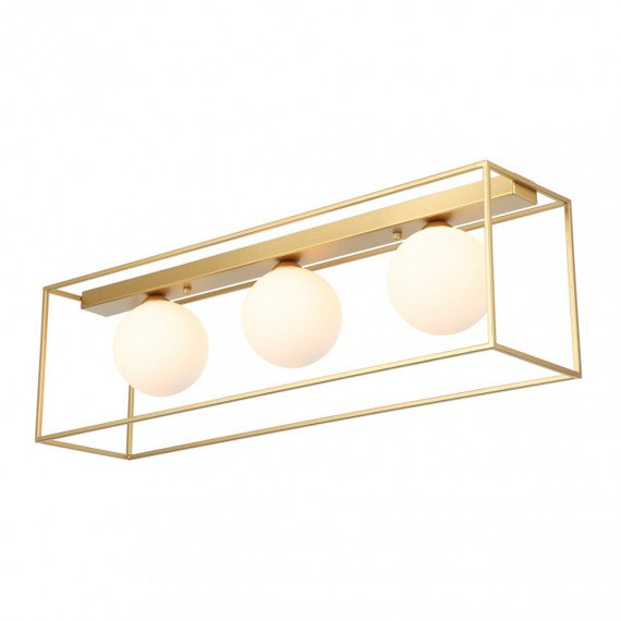 Italux Mediamo Złoty Plafon z białymi kloszami