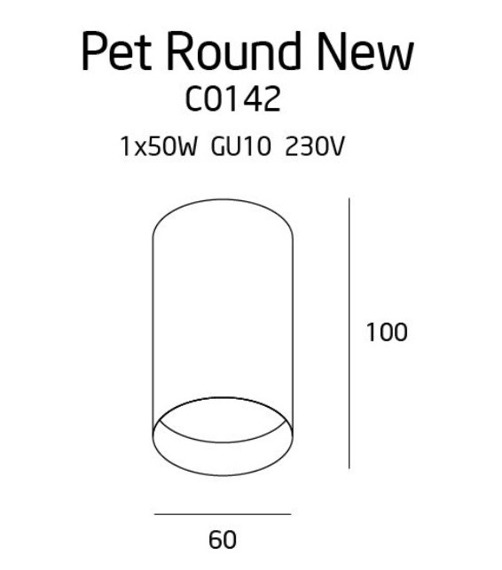 MaxLight C0142 Pet Round Plafon Czarny