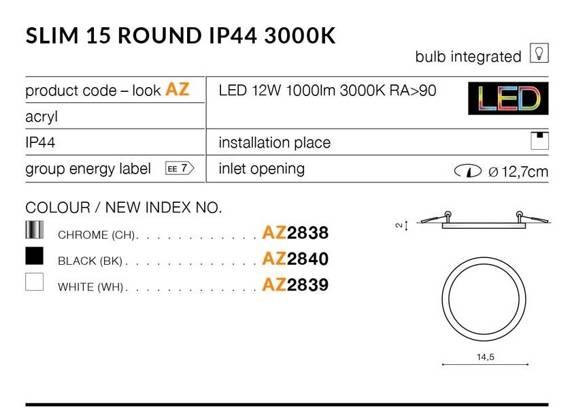 Oprawa Do Zabudowy Azzardo Slim 15 Round AZ2838 Chrom 3000K