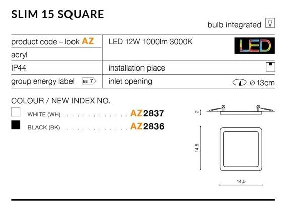 Oprawa Do Zabudowy Ledowa Azzardo Slim 15 Square AZ2836 Czarna 3000K
