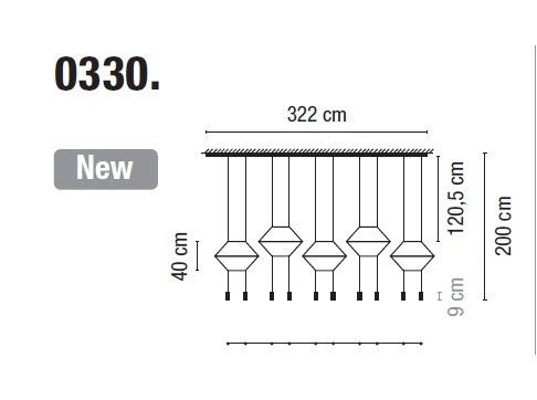 Zwis Wireflow 0330-04 Vibia czarna 322 cm