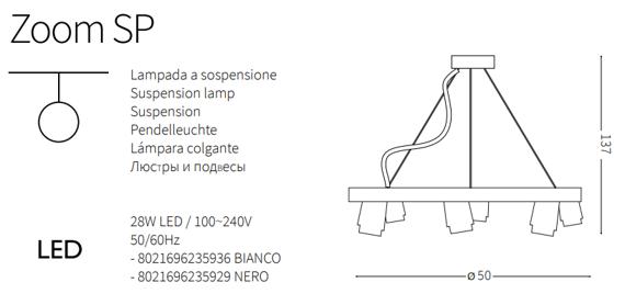 Żyrandol z reflektorkami w kolorze białym Ideal Lux Zoom SP